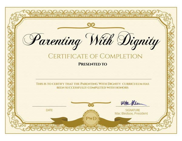 Parenting with Dignity Certificate of Completion